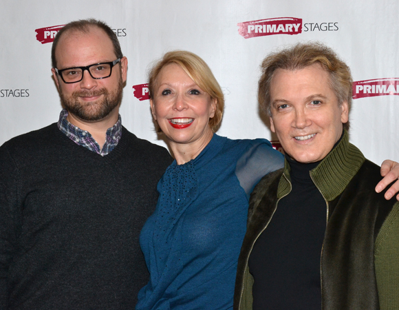 Director Carl Andress smiles alongside his two stars, Julie Halston and actor/playwright Charles Busch.