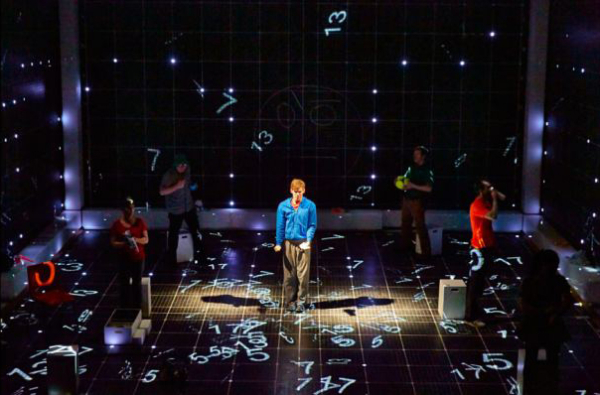 Luke Treadway as Christopher (center) in a scene from the London production of The Curious Incident of the Dog in the Night-Time at the Apollo Theatre.