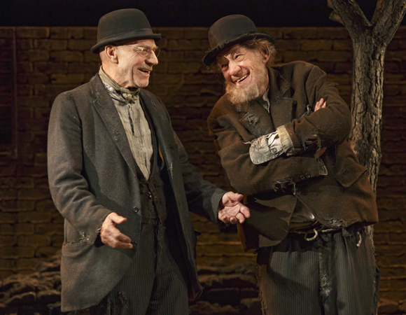 Patrick Stewart as Vladimir and Ian McKellen as Estragon in the Broadway revival of Samuel Beckett's Waiting for Godot.