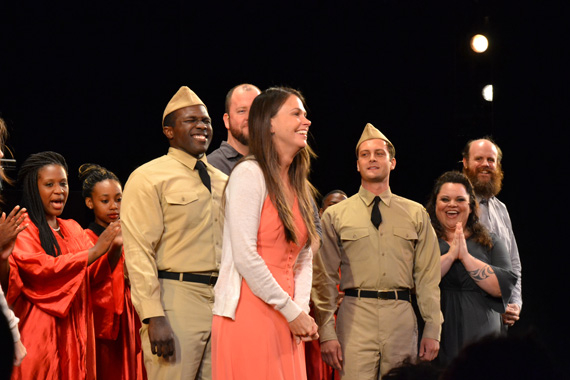 Sutton Foster receives a standing ovation after the one-night-only Encores! Off-Center concert of Violet. She will reprise the title role on Broadway this spring.