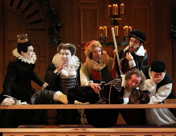 Mark Rylance as Olivia, Paul Chahidi as Maria, Peter Hamilton Dyer as Feste, Matt Harrington as Olivia's Servant, Terry McGinity as Priest, and Colin Hurley as Sir Toby Belch in Twelfth Night at the Belasco Theatre.