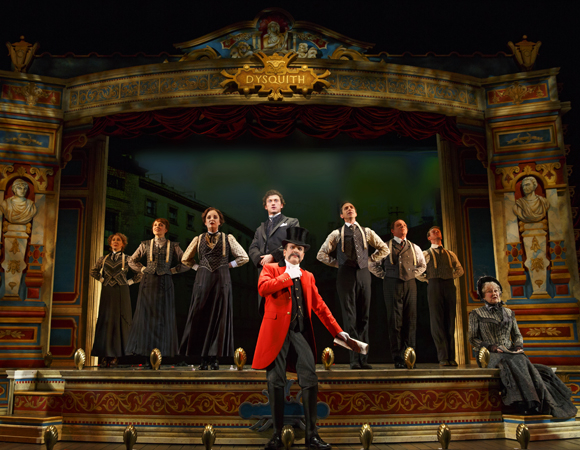 Jefferson Mays (center) as Lord Adalbert D'Ysquith  and the cast of A Gentleman's Guide to Love and Murder at the Walter Kerr Theatre.