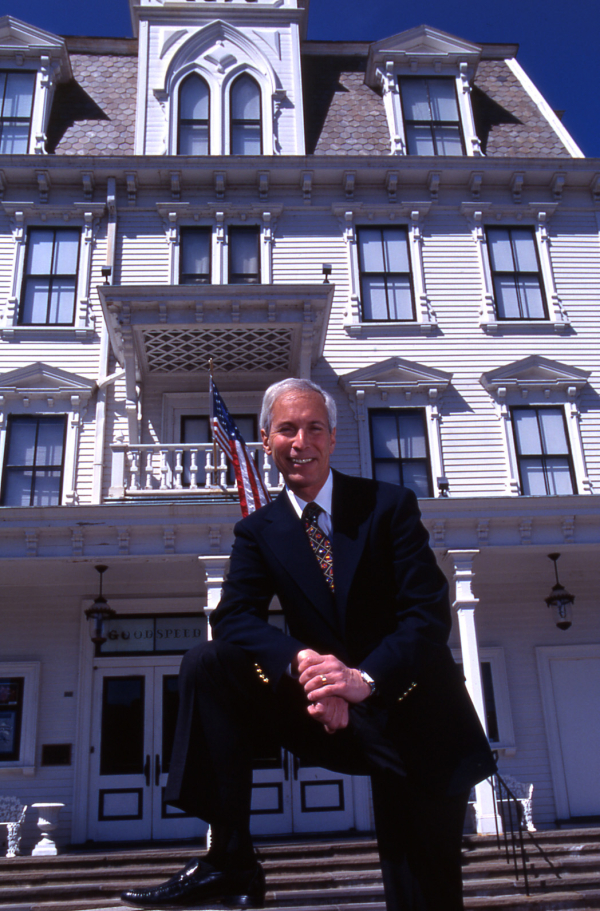 Executive Director Michael Price stands in front of the Goodspeed Opera House, his home for the past 45 years.