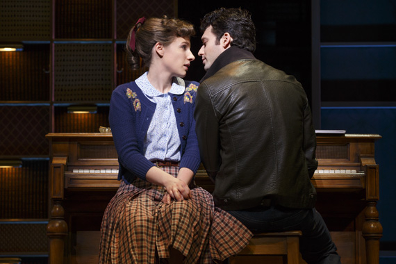 Jessie Mueller and Jake Epstein turn up the heat as Carole King and Gerry Goffin in Beautiful — The Carole King Musical at the Stephen Sondheim Theatre.