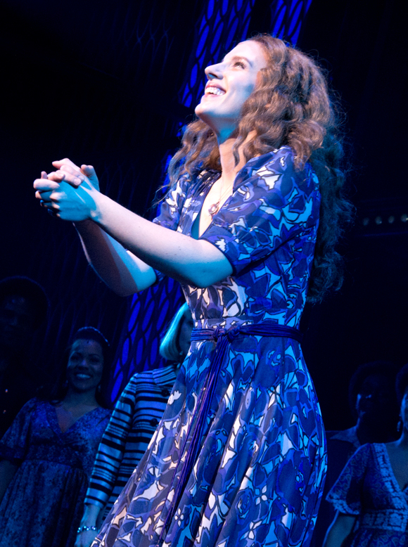 Jessie Mueller takes her triumphant opening-night curtain call in Beautiful at the Stephen Sondheim Theatre.