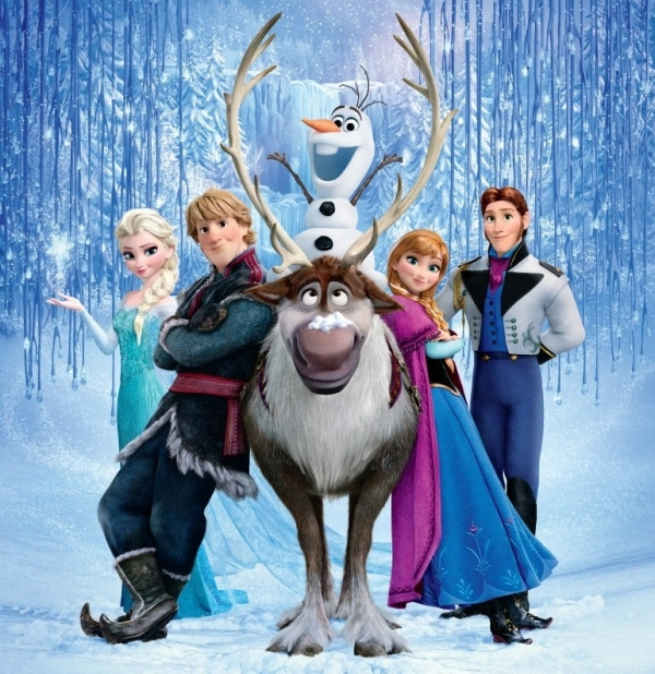 The Broadway-bound characters of Frozen (L to R): Elsa, Kristoff, Sven, Olaf, Anna, and Hans.