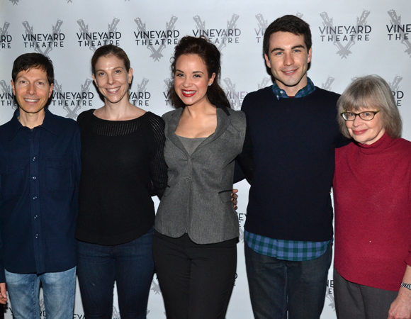 The Arlington family: book writer/lyricist Victor Lodato, director Carolyn Cantor, cast members Alexandra Silber and Ben Moss, and composer Polly Pen.