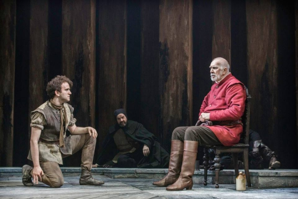 Harry Melling (left) as the Fool opposite Frank Langella as the title role in William Shakespeare's King Lear at Brooklyn Academy of Music.