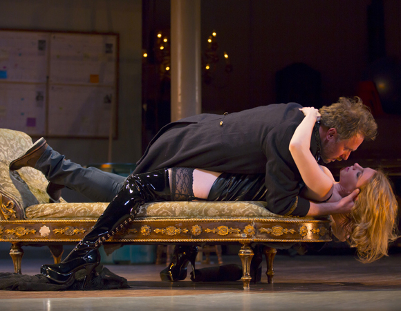 Chris Kipiniak as frustrated director Thomas, and Andrea Syglowski as Vanda, his potential leading lady, in the Huntington Theatre Company production of David Ives' Venus in Fur, directed by Daniel Goldstein.