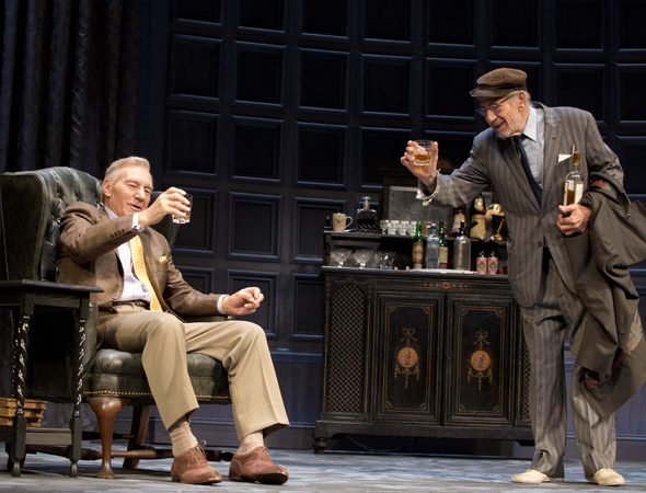 Patrick Stewart as Spooner and Ian McKellen as Hirst in Sean Mathias' Broadway revival of Harold Pinter's No Man's Land at the Cort Theatre.