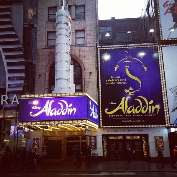 Broadway's New Amsterdam Theatre decked out with its Aladdin signage.