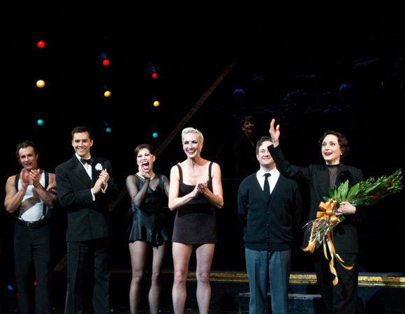 "Chicago cast members R. Lowe, Ryan Silverman, Bianca Marroquin, Amra-Faye Wright, and Christopher Fitzgerald cheer on their new costar, Bebe Neuwirth, as she takes her first bow as ""Mama"" Morton."