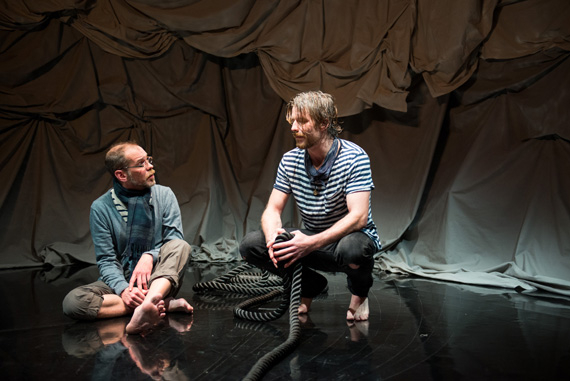 """I'd rather be sailing"": Louis Butelli and Christopher Tierney talk it out in the US premiere of Jon Fosse's I Am the Wind at 59E59 Theaters."