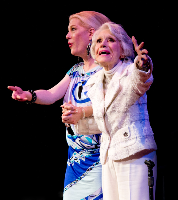 Justin Vivian Bond and Carol Channing strike a theatrical pose onstage at The Town Hall.