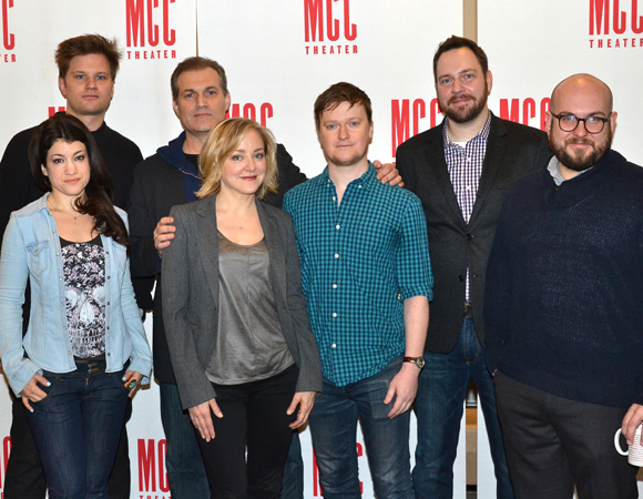 The human family of Hand to God: Michael Oberholtzer, Sarah Stiles, Geneva Carr, Marc Kudisch, Steven Boyer, Moritz von Stuelpnagel, and Robert Askins.