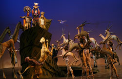 A scene from The Lion King, directed by Julie Taymor and now playing at Broadway's Minskoff Theatre.