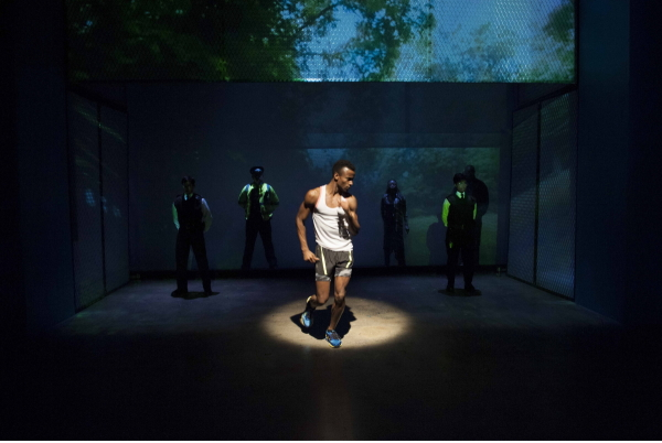 Sheldon Best and the cast of The Loneliness of the Long Distance Runner, now running at Atlantic Theater Company's Stage 2.