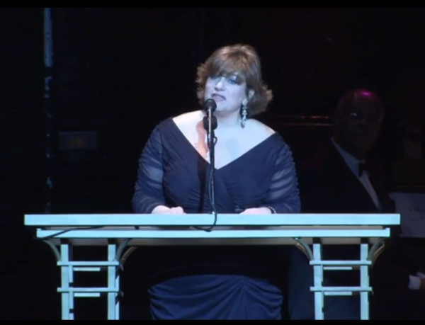 Linda Levy, president and chief executive of TheatreWashington, addresses the crowd at the 2013 Helen Hayes Awards at Washington, D.C.'s Warner Theatre.