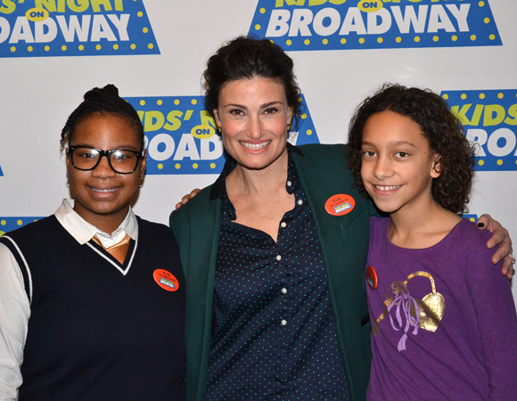 A pair of campers from A Broader Way, a nonprofit arts camp founded by Idina Menzel and Taye Diggs, joined Menzel to celebrate the camp's partnership with Kids' Night on Broadway.