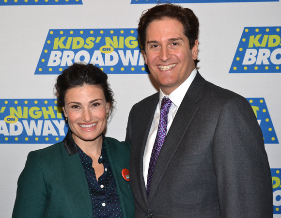 Kids' Night on Broadway 2014 National Ambassador Idina Menzel helped kick off the program's 18th season alongside Nederlander Organization Executive Vice President Nick Scandalios.