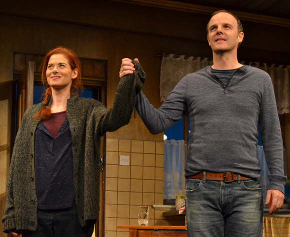 Debra Messing and Brían F. O'Byrne take their curtain call on the opening night of Outside Mullingar at the Samuel J. Friedman Theatre.