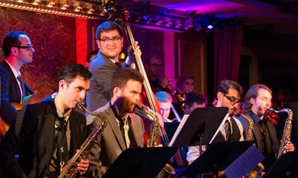 Charlie Rosen (center) leads his Broadway Big Band at 54 Below.