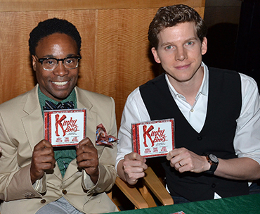 Newly-crowned Grammy winners Billy Porter and Stark Sands show off their copies of the Kinky Boots Original Broadway Cast Recording.
