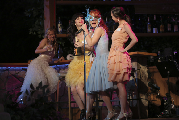 Patti Murin, Audrey Lynn Weston, Maria Thayer, and Kimiko Glenn appeared in the 2013 Shakespeare in the Park production of Alex Timbers and Michael Friedman's musical Love's Labour's Lost, which Timbers directed.