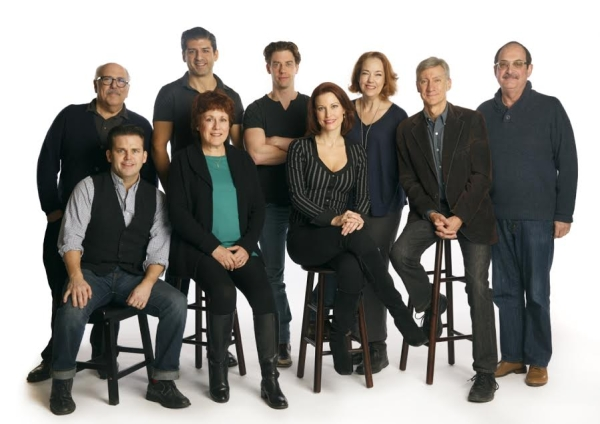 The full cast of the Encores! production of Little Me gathers for rehearsal under the direction of John Rando.