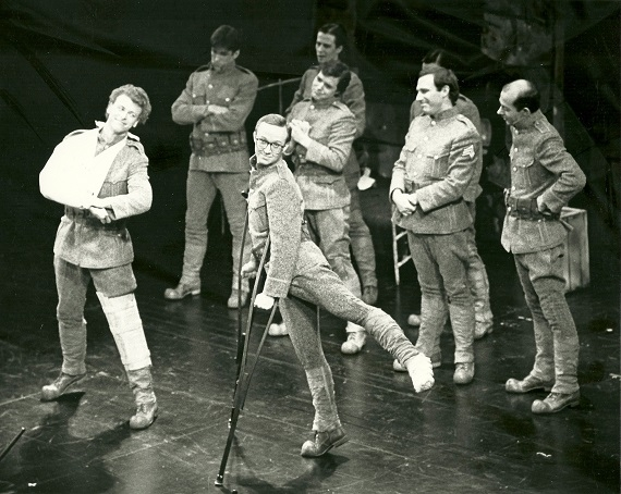 Men of the 1982 Broadway revival of Little Me: Kevin Winkler (center), Mark McGrath (far left). Second row (l-r): Michael Blevins, Stephen Berger, Bob Freschi; back row (l-r): James Brennan, Brian Quinn, David Cahn (hidden).