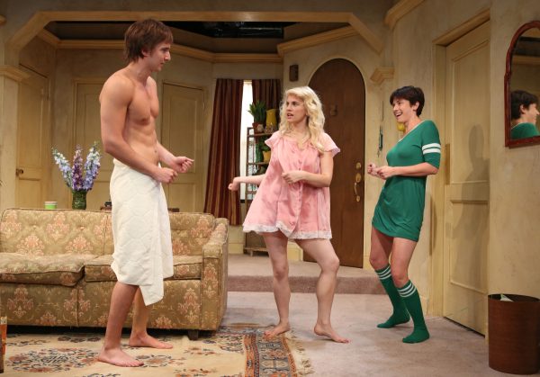 Jake Silbermann, Anna Chlumsky, and Hannah Cabell starred in 3C, David Adjmi's riff on the classic television sitcom Three's Company, at the Rattlestick Playwrights Theatre in 2012.