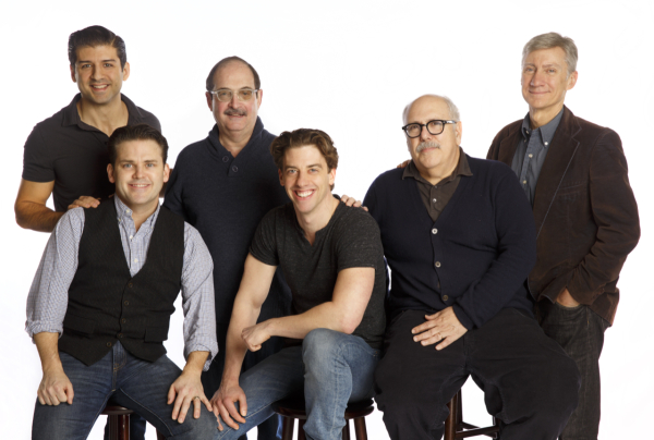 Men of the 2014 City Center Encores! revival of Little Me: Tony Yazbeck, Robert Creighton, Lewis J. Stadlen,  Christian Borle, Lee Wilkof, and David Garrison.