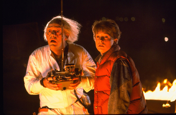 Christopher Lloyd and Michael J. Fox from the 1985 hit film Back to the Future. Cowriters Robert Zemeckis and Bob Gale will pen the book for the upcoming West End musical.