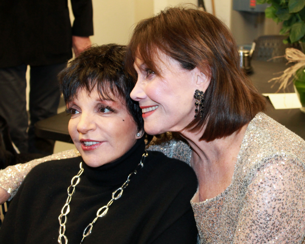 Liza Minnelli and Michele Lee backstage following Lee's opening night at 54 Below.