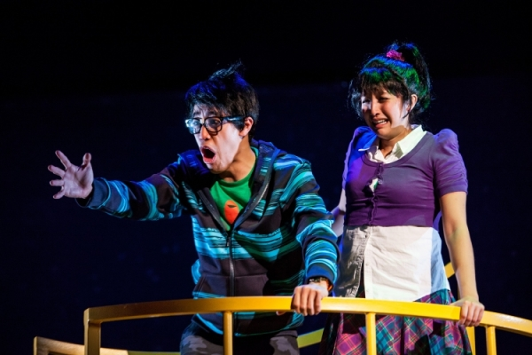 Alton Alburo and Sasha Diamond play superpower-wielding teens Bruce and Violet Wong in The Wong Kids in the Secret of the Space Chupacabra Go!, directed by Ralph B. Peña with Jack Tamburri, at off-Broadway's La MaMa E.T.C. Ellen Stewart Theatre.