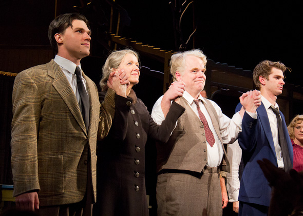 Finn Wittrock, Linda Emond, Philip Seymour Hoffman, and Andrew Garfield take their curtain call on the opening night of Broadway's Death of a Salesman in March 2012.