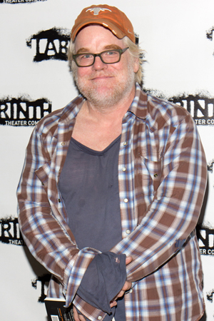 Philip Seymour Hoffman at the October 2013 opening night of Eric Bogosian's 100 (Monologues) at LAByrinth Theater Company.