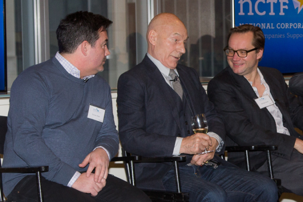 Duncan Sheik (left) and Michael Riedel (right) look on as Sir Patrick Stewart contributes to the panel discussion.