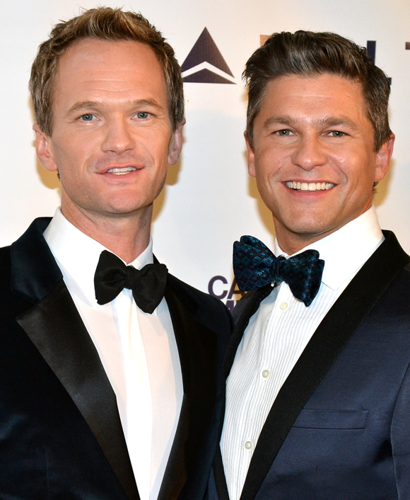Honoree Neil Patrick Harris and his partner, David Burtka, arrive for the Drama League gala.