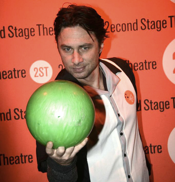 Bullets Over Broadway star Zach Braff has his game face on at Second Stage Theater's annual bowling tournament.