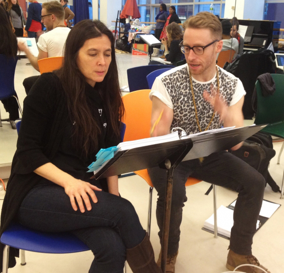 Director Diane Paulus and composer Matt Gould in rehearsal.
