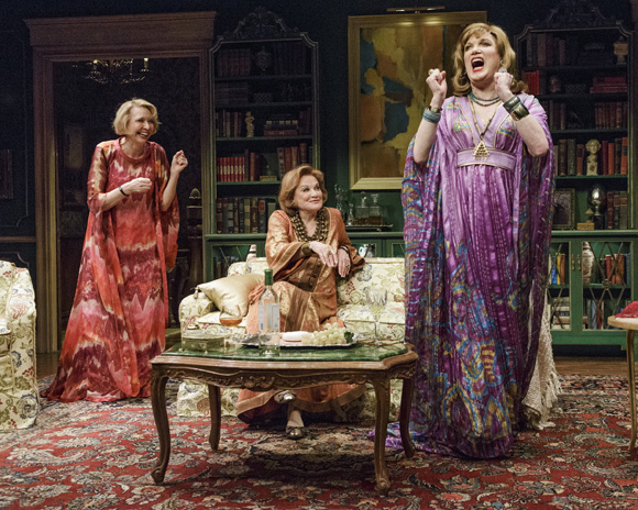 Adriana (Cynthia Harris, center) lets Rita (Julie Halston) and Jimmy (Charles Busch) try on some of her fabulous '60s dresses in the world premiere of ''The Tribute Artist'' from Primary Stages at 59E59 Theaters.
