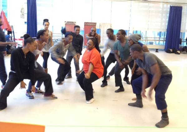 Melody Betts and the cast of Witness Uganda, a musical directed by Diane Paulus, run a dance rehearsal before moving to the American Repertory Theater.