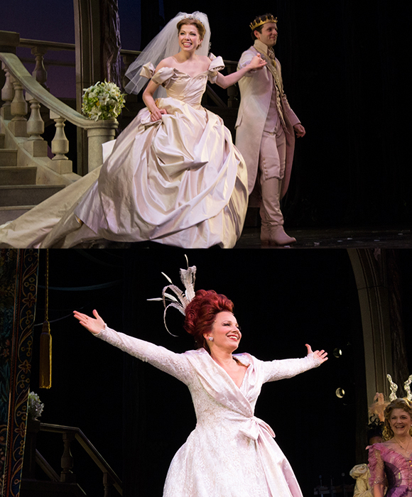Prince Joe Carroll strolls with Princess Carly Rae Jepsen to the stage. Bottom: Fran Drescher takes a triumphant curtain call upon making her Broadway debut.