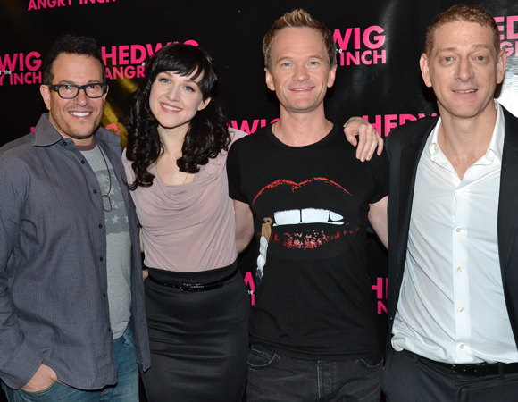 Director Michael Mayer (left) and producer David Binder (right) flank their stars, Lena Hall and Neil Patrick Harris.