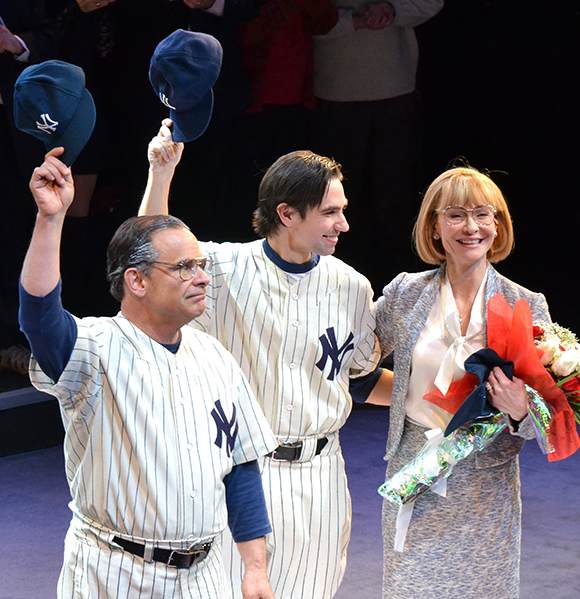Peter Scolari, Keith Nobbs, and Tracy Shayne take their bows on the opening night of Bronx Bombers at the Circle in the Square Theatre.