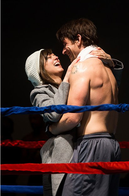 Margo Seibert as Adrian and Andy Karl as Rocky in rehearsal for the upcoming Broadway production.