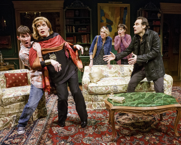 Keira Keeley, Charles Busch, Julie Halston, Mary Bacon, and Jonathan Walker in the Primary Stages production of The Tribute Artist at 59E59 Theaters.