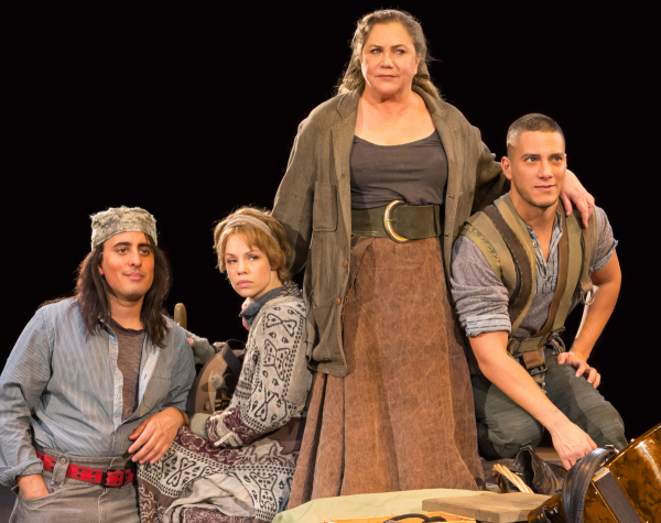 Nehal Joshi as Swiss Cheese, Erin Weaver as Kattrin, Kathleen Turner as Mother Courage, and Nicholas Rodriguez as Eilif in Mother Courage and Her Children at Arena Stage.