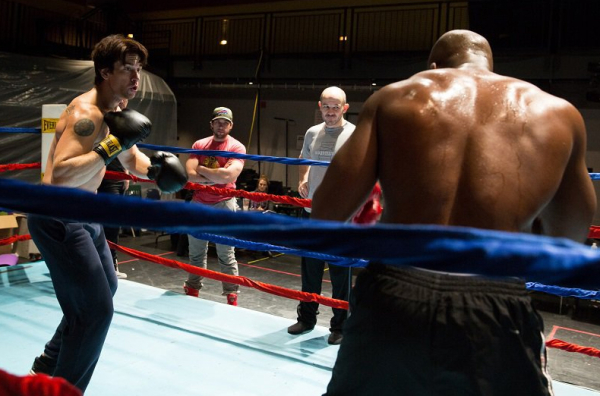 Andy Karl, Vince Oddo, Steven Hoggett, and Terence Archie in rehearsals for Rocky, now beginning previews February 13 at the Winter Garden Theatre.